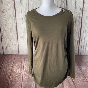 Michael Kors olive green long sleeve top size XL
